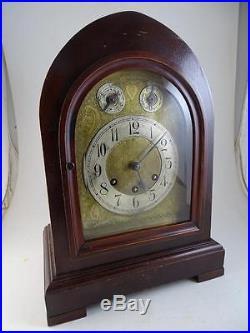 Antique Steeple Shelf Mantel Clock Gustav Becker Westminster German Chime Vtg