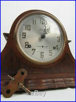Antique WESTMINSTER CHIMES clock SESSIONS 8 Day Mantle key Original Condition