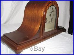 Antique Waterbury Mahogany Tambour Westminster Chime Mantle Clock Original