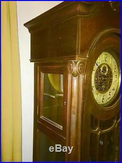 Antique Winterhalder & Hofmeier Grandfather Tall Floor Clock Westminster chimes