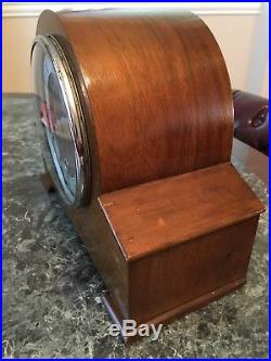 Antique Wood Westminster Chime Mantel Clock Made In England WithKey Works Great