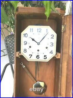 Antique Wooden Chime Wall Clock Westminster Art Deco Fabulous Estate Sale