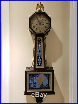 Antique Working 1923 NEW HAVEN Washington Westminster Chime 41 Banjo Wall Clock