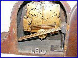 Antique Working Napoleon Hat Mantel Clock Brass Letters Westminster Chimes