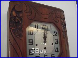 Antique french alarm clock chime Westminster wooden wall IROD rings france melod