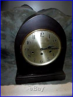 Antique junghans westminster chimes clock original working large clock 13 x 10