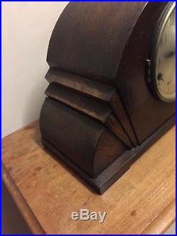 Art Deco German Oak Case Westminster Whittington Chimes Mantle Clock GWO 19L