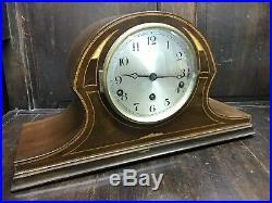 Art Deco Inlaid Mahogany Napoleon Hat Clock. Westminster Chime. Strike / Silent