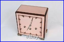 Art Deco Rose Pink Glass Clock Westminster Chime 1920's
