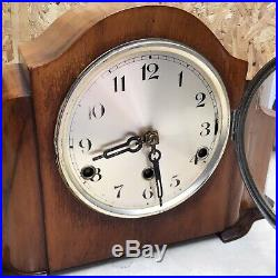 Art Deco Westminster Chime Walnut Mantle Clock