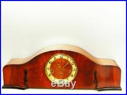 Art Deco Westminster Chiming Mantel Clock Junghans Black Forest Germany