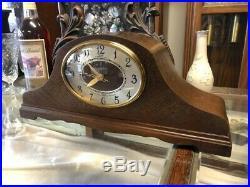 BEAUTIFUL VTG 1940's TELECHRON REVERE WESTMINSTER CHIME WOOD DECO MANTLE CLOCK