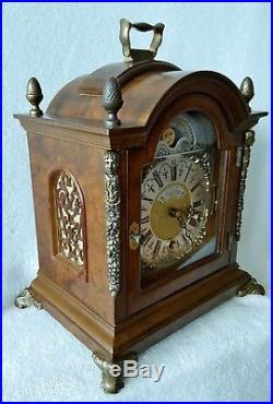 BIG Warmink Clock Westminster Mantel Shelf Chime Nut Wood Moonphase Night Switch
