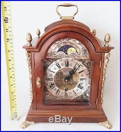 BIG Warmink Clock Westminster Quarter Chime 8 Day Nut Wood Case Moonphase 38cms