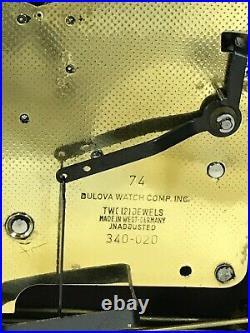 BULOVA Tempus Fugit WESTMINSTER CHIME MANTEL CLOCK 340-020! Works Well