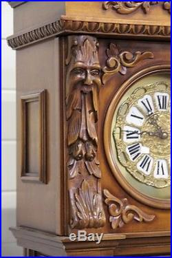 Baroque Style Italian Clock with Large Carved Figures Westminster Chimes 1960s