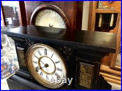 Beautiful Antique Ansonia Black-gold Metal Chime Mantle Statue Clock A+movement