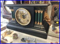 Beautiful Antique Ingraham Black & Green Column Chime Mantle Clock A+ Movement