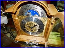 Beautiful F. HERMLE Key-wound MOOPHASE WESTMINSTER Chime Mantel CLOCK