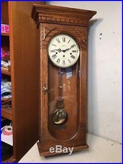 Beautiful Huge Howard Miller Oak Westminster Chime Wall Clock