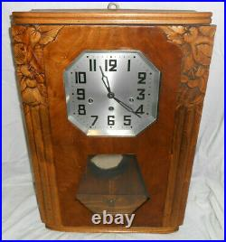 Beautiful Vintage Romanet Morbier Westminster Chime Wind French Wall Clock Rare