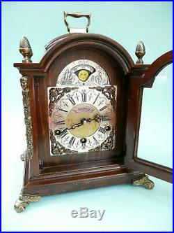 Bracket Clock, Westminster Chimes, Moon Phase, 1/4 hour striking. Ref. 1508