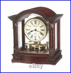 Bulova Bardwell Analog Walnut Wood Finish Polished Brass Mantle Clock B1987