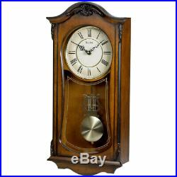 Bulova Clocks C3542 Cranbrook Wall Mount Analog Wooden Chiming Clock (Open Box)