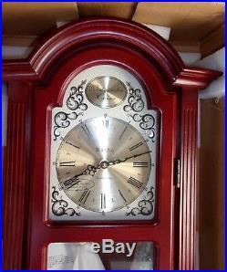 Bulova Large Westminster Chime Wall Clock Mahogany