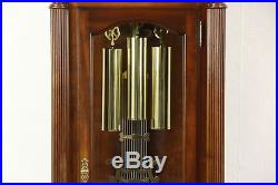 Cherry & Burl Vintage Grandfather Long Case Westminster Chime Clock Signed Sligh