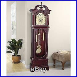 Chiming Grandfather Clock Floor Large Pendulum Brown Traditional Westminster