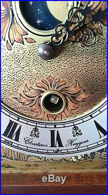 Christiaan Huygens Clock Westminster Chimes Moon Dial Key Wind 8 Day