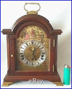 Christiaan Huygens Mantel Clock Westminster Quarter Chimes Moon Dial Key Wind