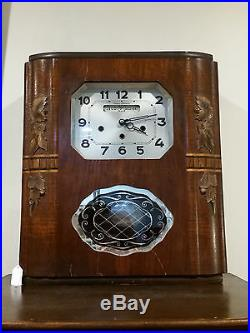 Circa 1950 Art Deco Westminster Two Chimes Wall Clock