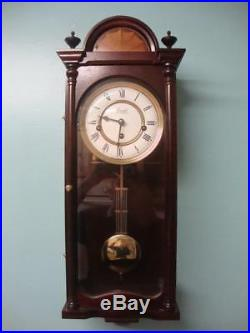 Comitti of London Key Wind Westminster Chime Mahogany Regency Wall Clock