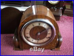 Coronet British Vintage Art Deco 8 Day Westminster Chime Mantle Clock V G C