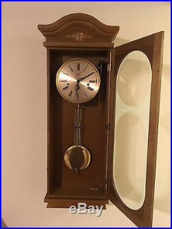 Decorative Hermle Oak 8 Day Westminster Chime Wall Clock White Etching & Silent