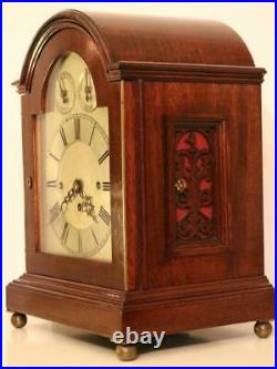 EDWARDIAN CHIMING BRACKET CLOCK triple chain fusee WESTMINSTER on COILED GONGS