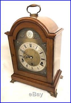 ELLIOTT LONDON Walnut Bracket Clock Westminster Whittington Chime NIGHT SILENCER