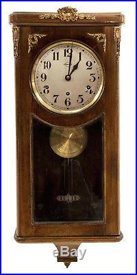 Early 19Th C FRENCH MAHOGANY VEDETTE Antique Wall Clock westminster chimes, gilt