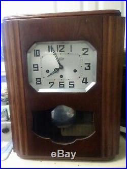 Early Twentieth Century Girodi French Oak Westminster Chimes Wall Clock