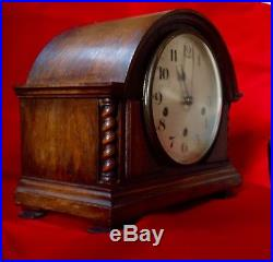 Edwardian Westminster Chime English Solid Oak Mantle Clock Good Working Cond