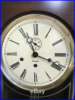 Ethan Allen Cherry Jewelers Regulator Wall Clock with Westminster Chimes & key