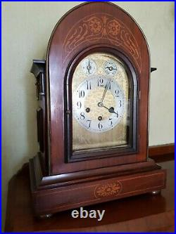Exceptional Antique Junghans Mahogany Inlaid Westminster Chime Bracket Clock