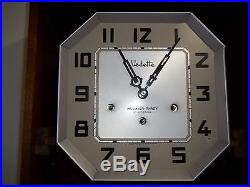 Fully Restored Art Deco French Vedette Westminster Chime Wall Clock