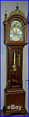 Fine Colonial 3 Weight Valley Forge Grandfather Clock Westminster Chime Working