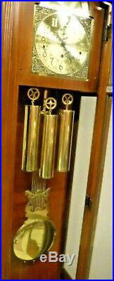 Fine Ridgeway 3 Weight Grandfather Clock Triple + Westminster Chime Working 8Day