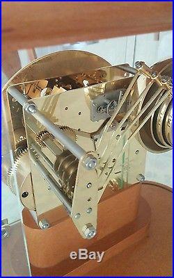 Franz Hermle Walnut Glass Mantle Wind up clock 4 bell westminster clock silencer