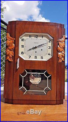 French Antique VEDETTE WALNUT WOOD Wall Clock VEDETTE CHIME WESTMINSTER