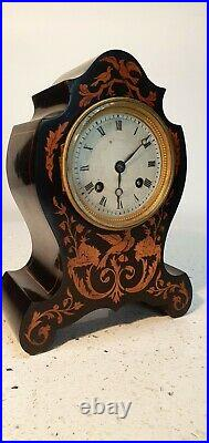 French Chiming Marquetry and Ebony Mantle Clock Duval A Paris